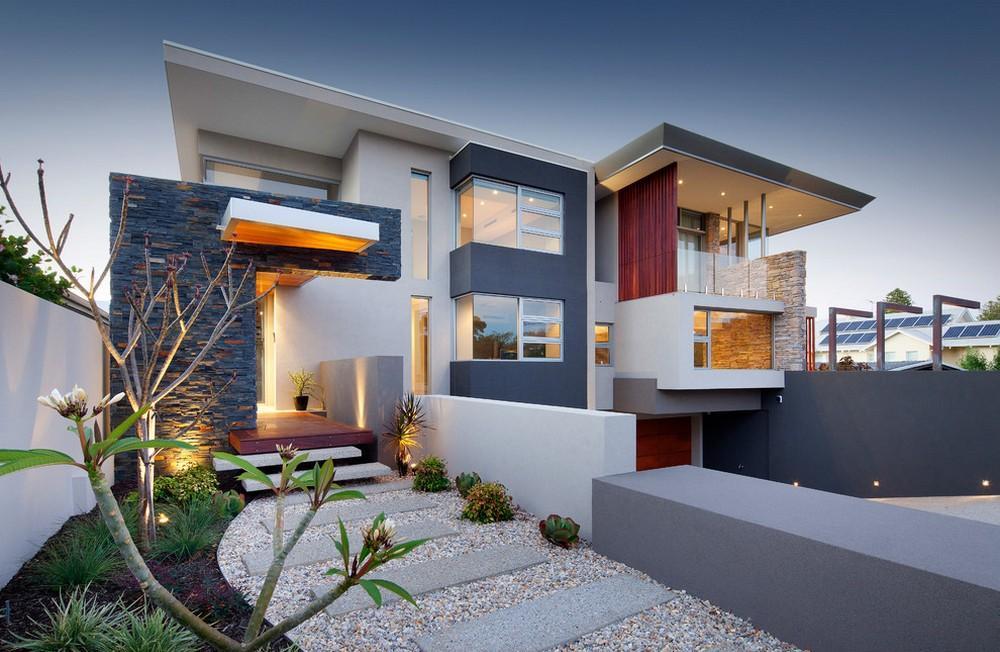 Серо-белый фасад дома в стиле хай-тек