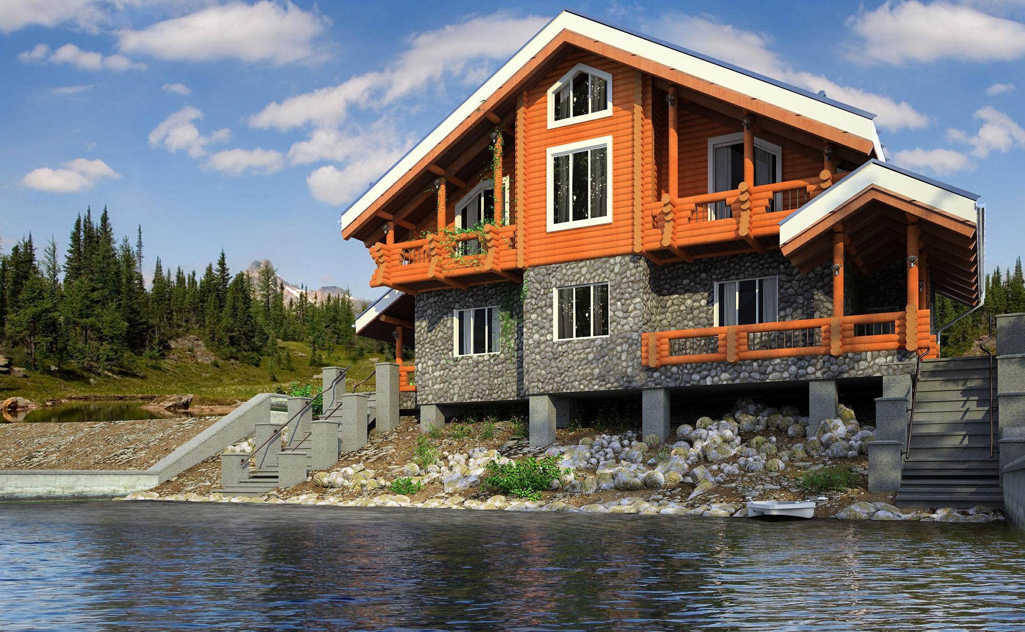 Дом в стиле шале у реки