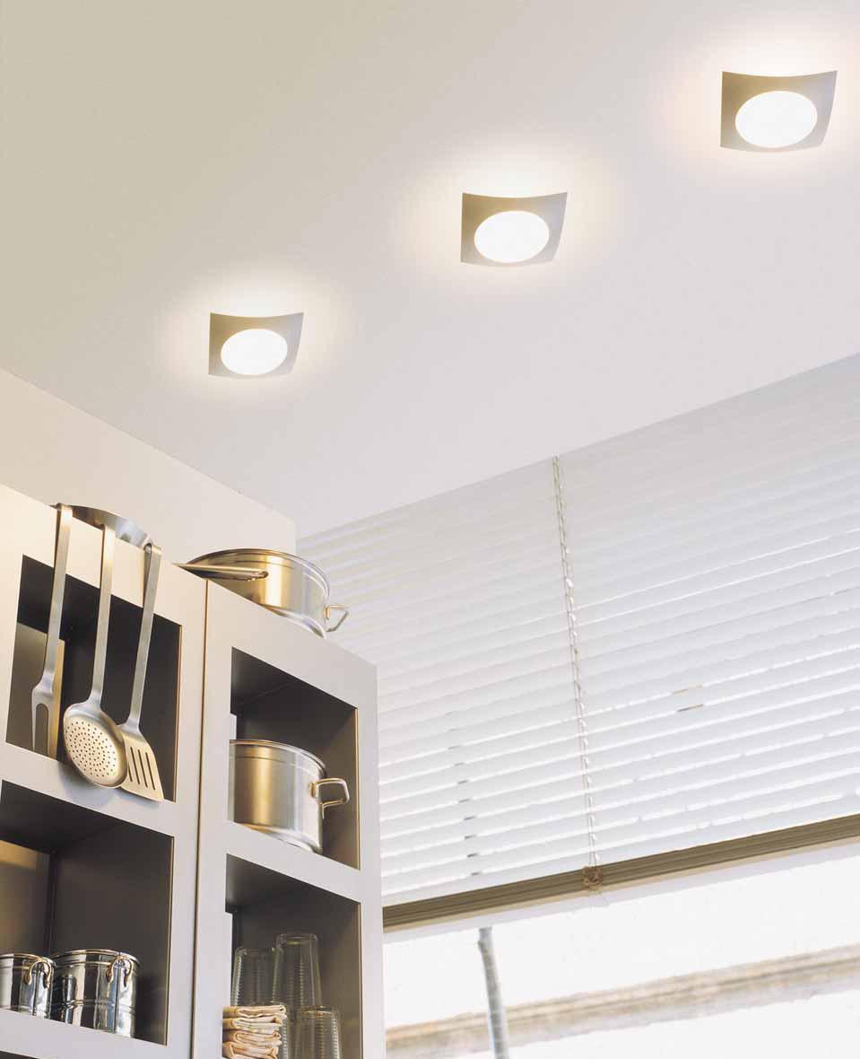Встроенные лампы в дизайне кухни