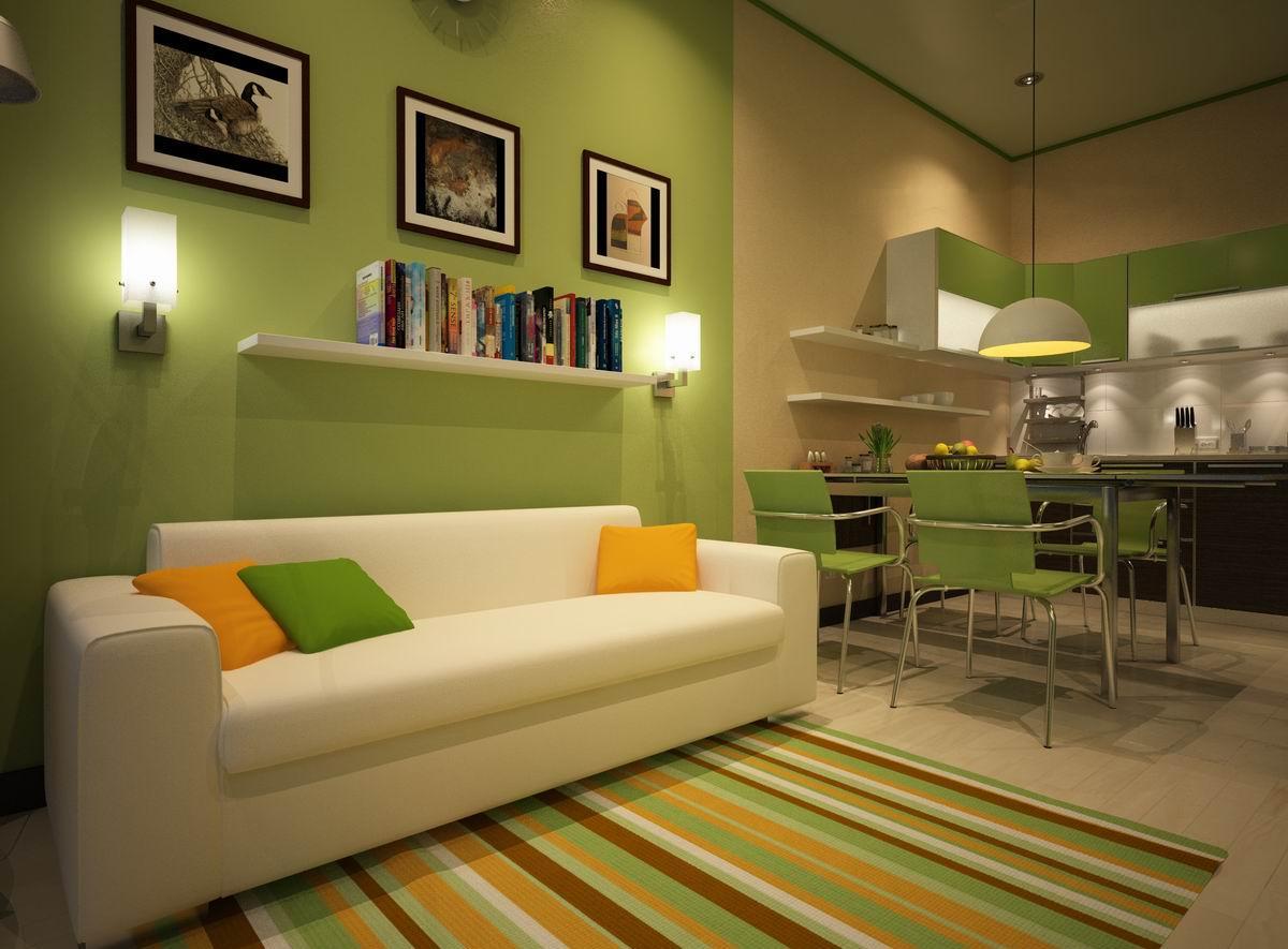 Бежево-зеленые стены на кухне