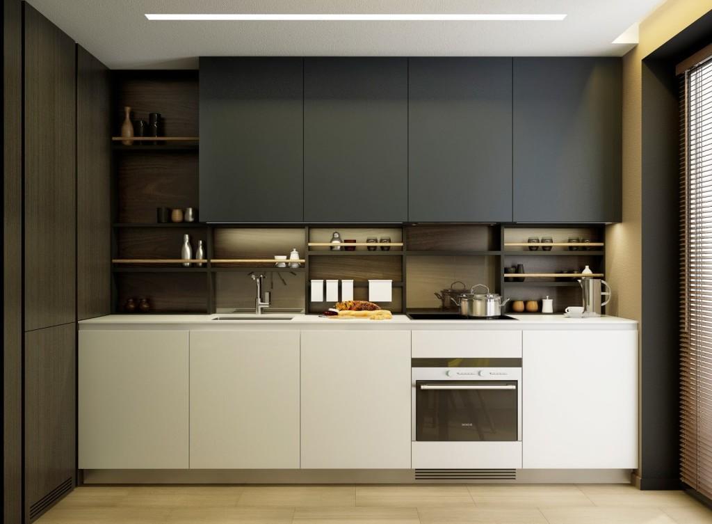 Монохромная кухня с встроенным освещением
