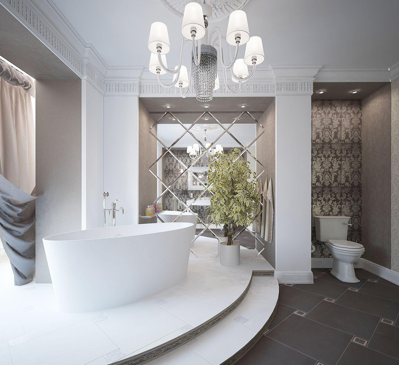 Зеркальное панно в просторной ванной комнате