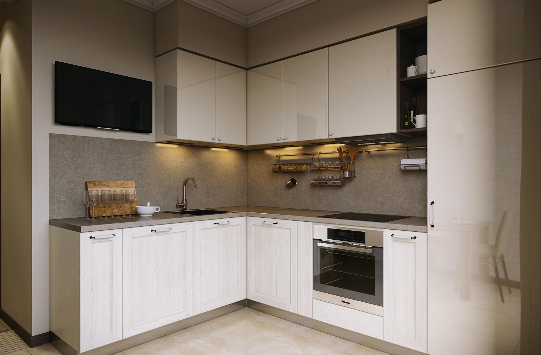 Угловая серо-белая глянцевая кухня