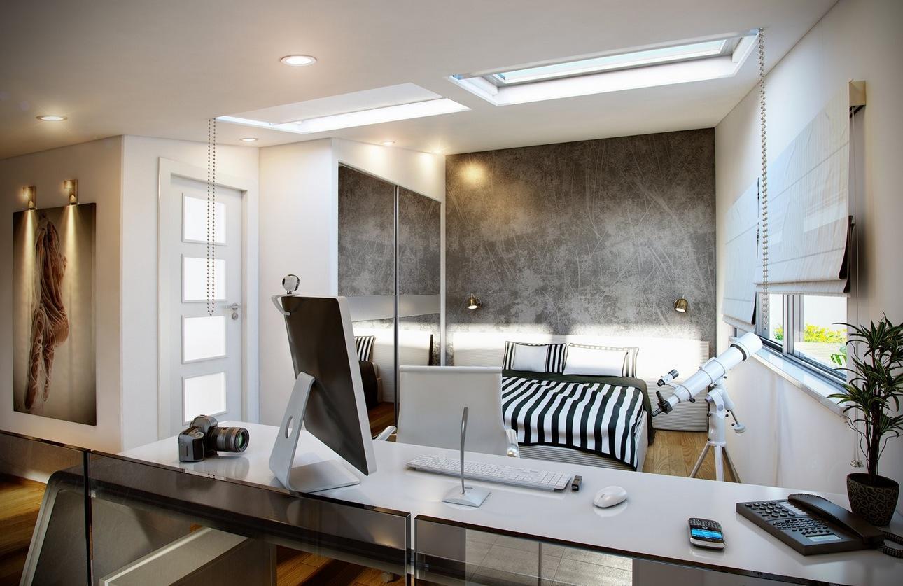 Большая спальня с рабочим кабинетом