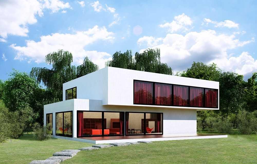 Белый дом в стиле хай тек