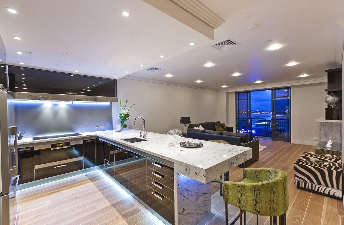 Черно-белая современная гостиная-кухня