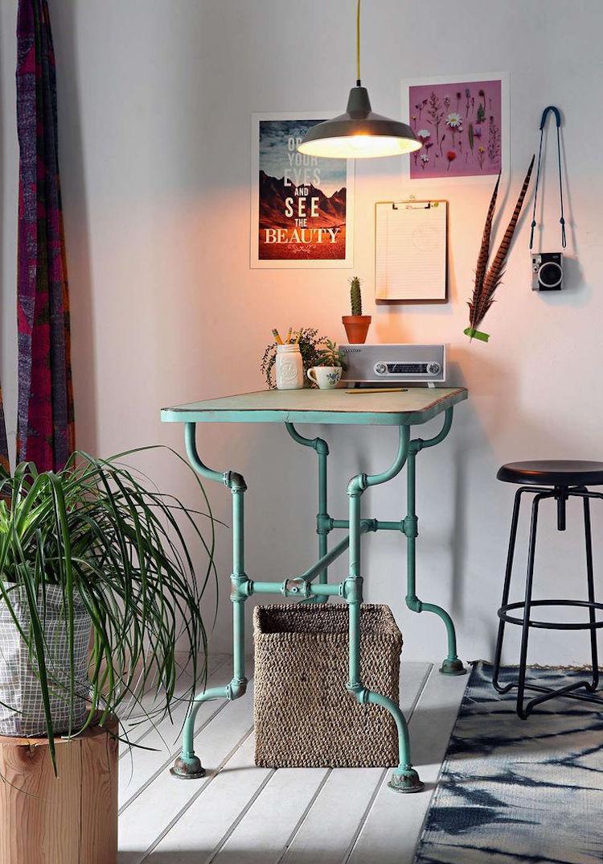 Кухня 7 кв м со столом в стиле лофт