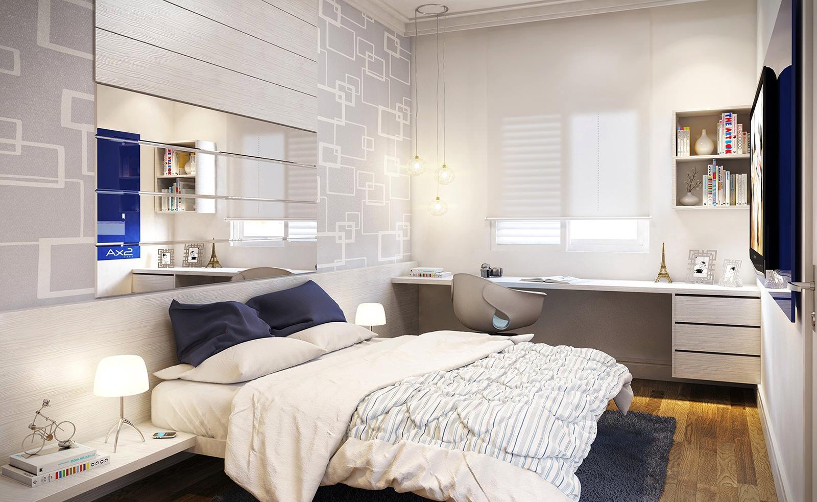 Бело-серая спальня с рабочим местом