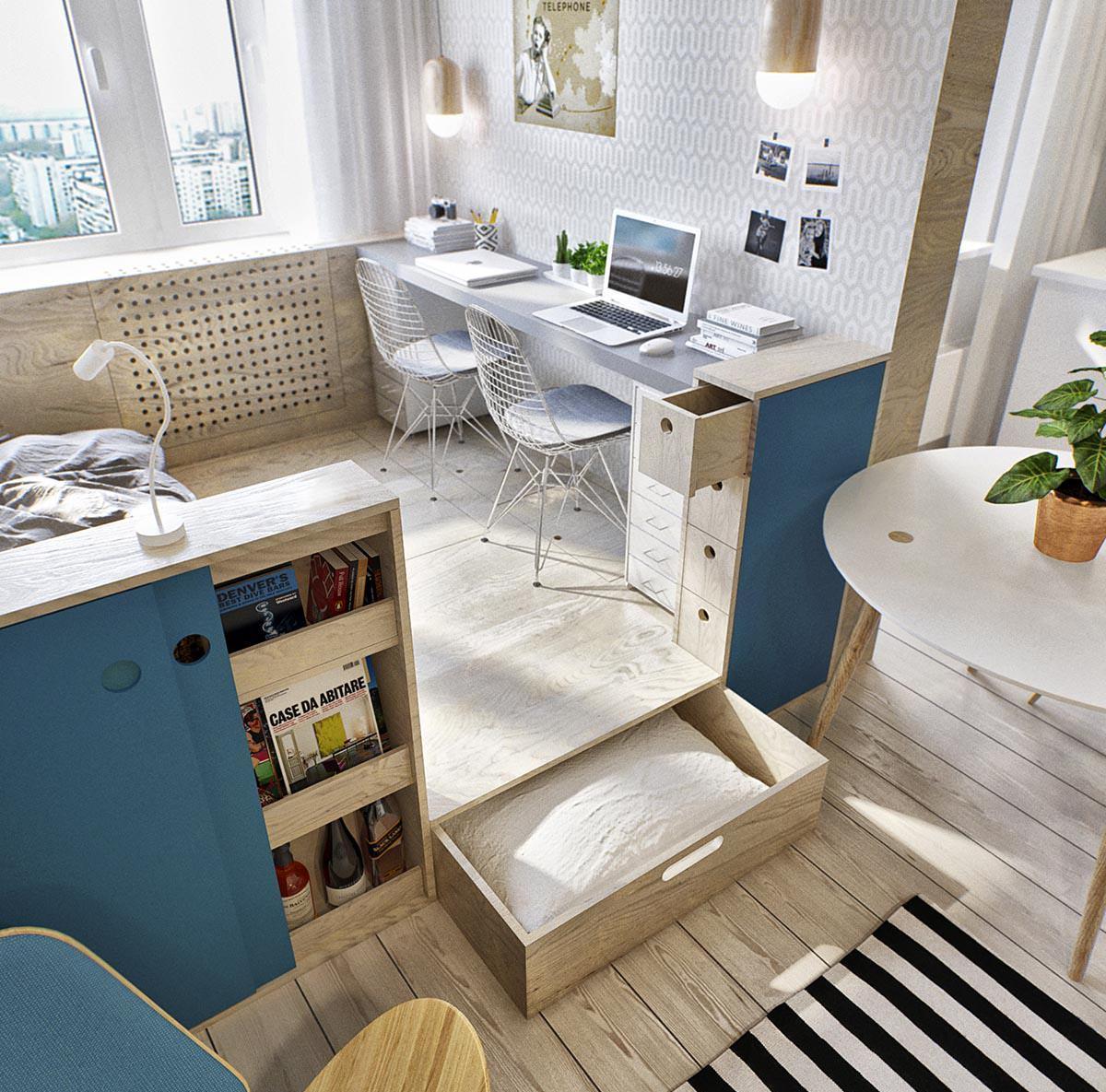 Оригинальное оформление спальни, кабинета и гостиной в одном пространстве