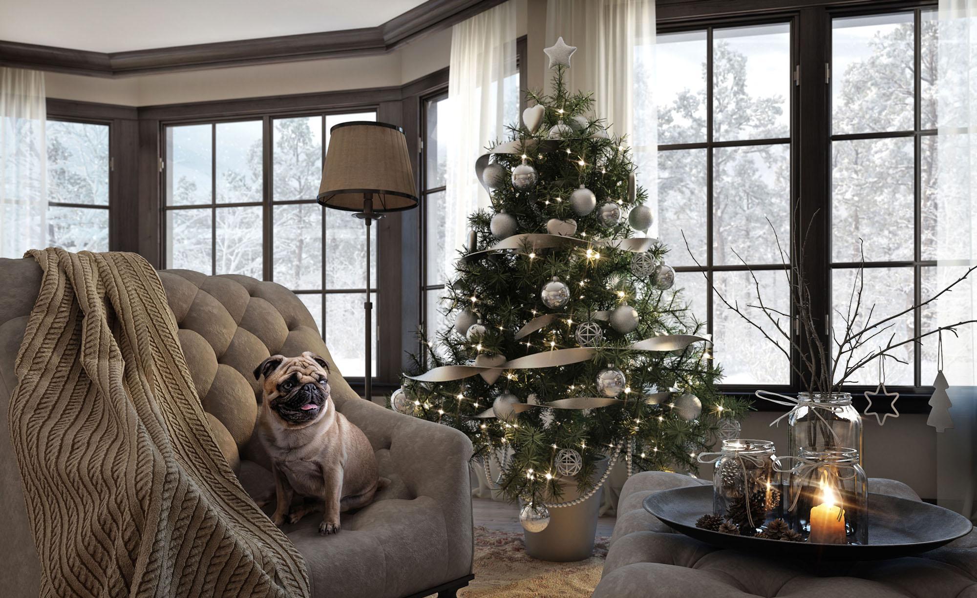 Серебристый декор для елки и интерьера