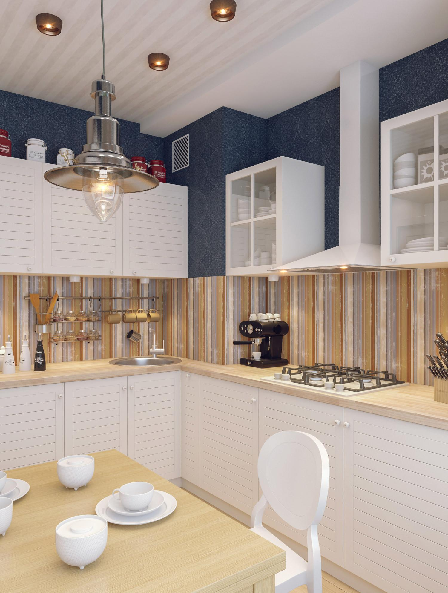 Бежево-белая маленькая кухня
