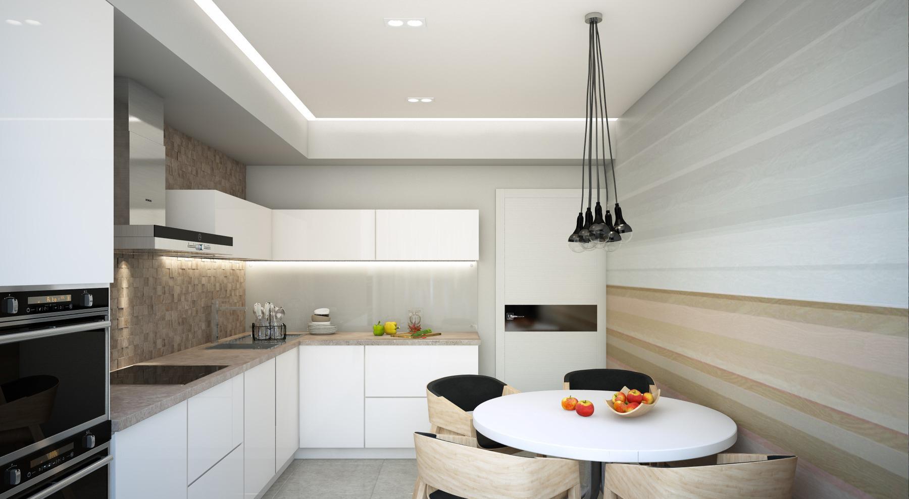 Горизонтальные полоски и плитка под дерево в дизайне кухни
