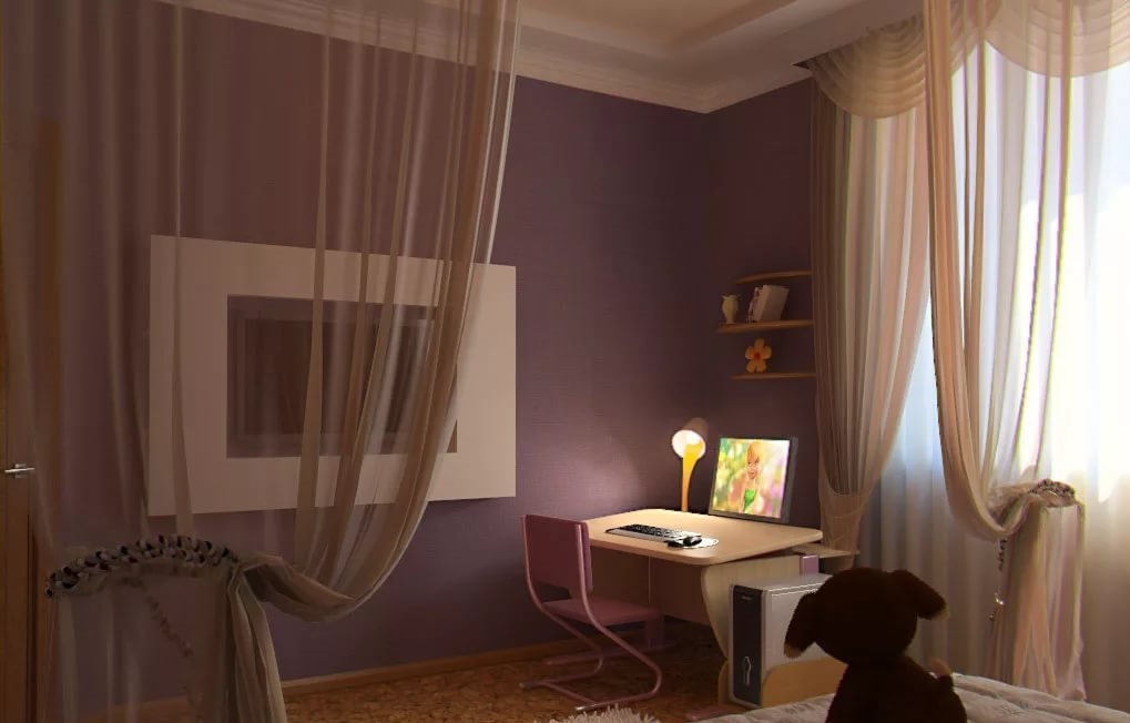 Зонирование шторами в спальне