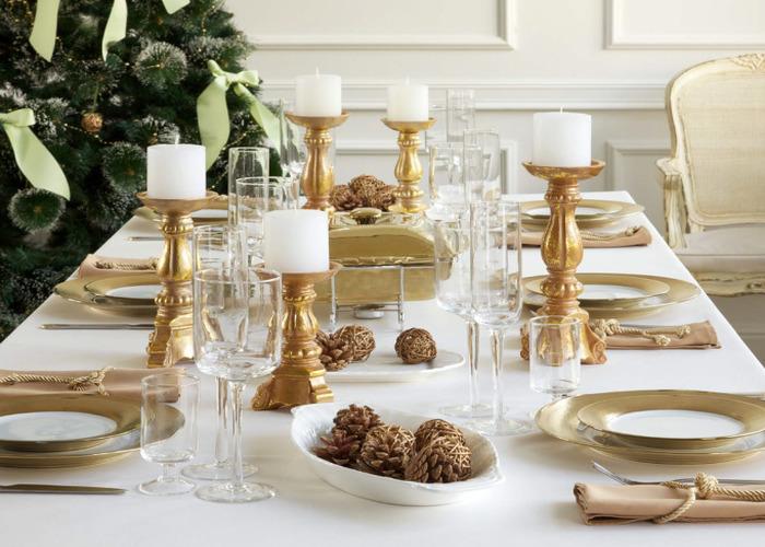 Золотой новогодний стол