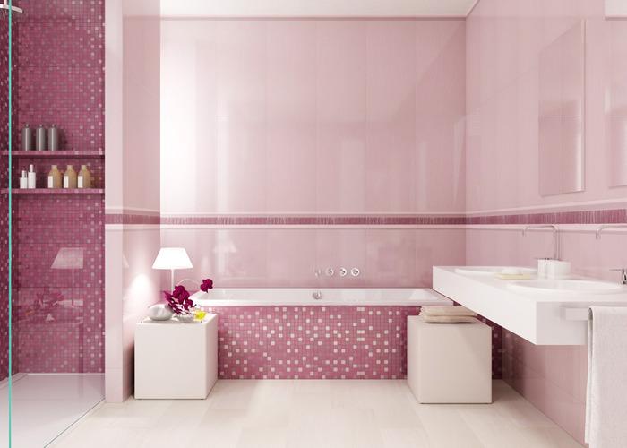 Ванная 9 кв м розовая