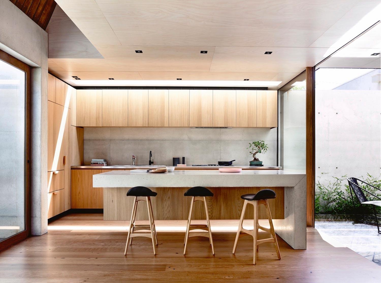 Дизайн кухни с барной стойкой бетонной