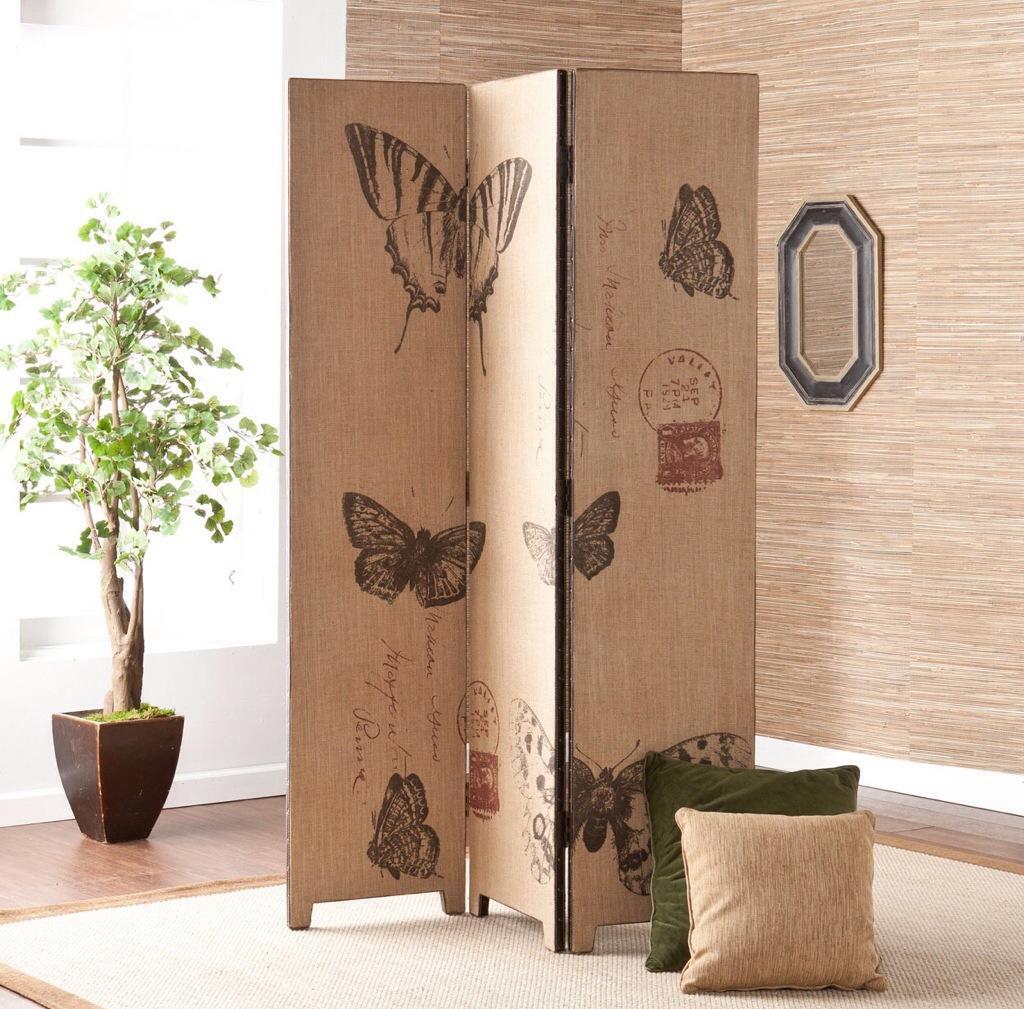 Ширма для комнаты с изображением бабочек