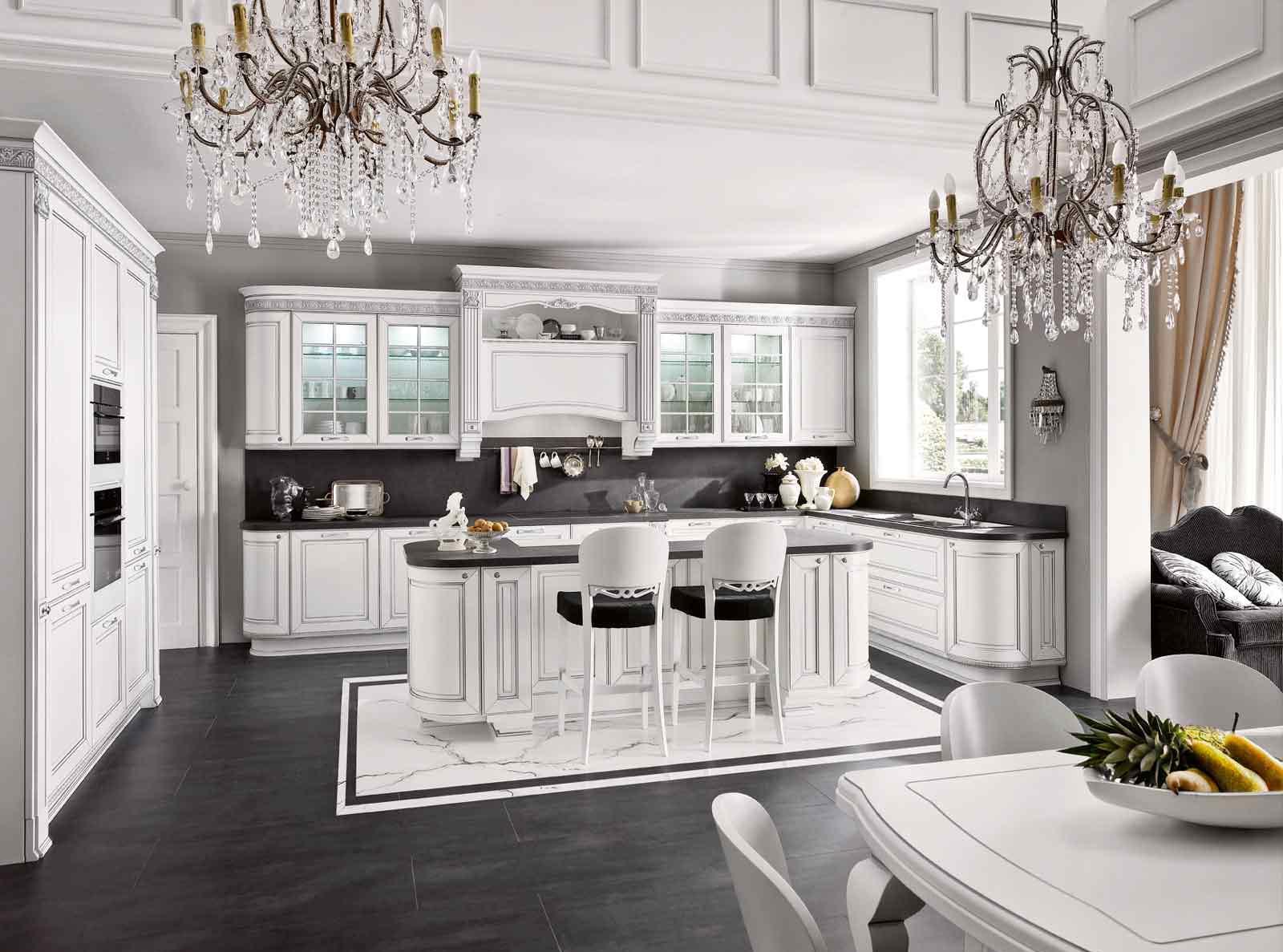 Барная стойка в просторной классической кухне