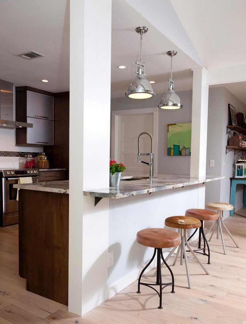 Дизайн кухни с барной стойкой каменной