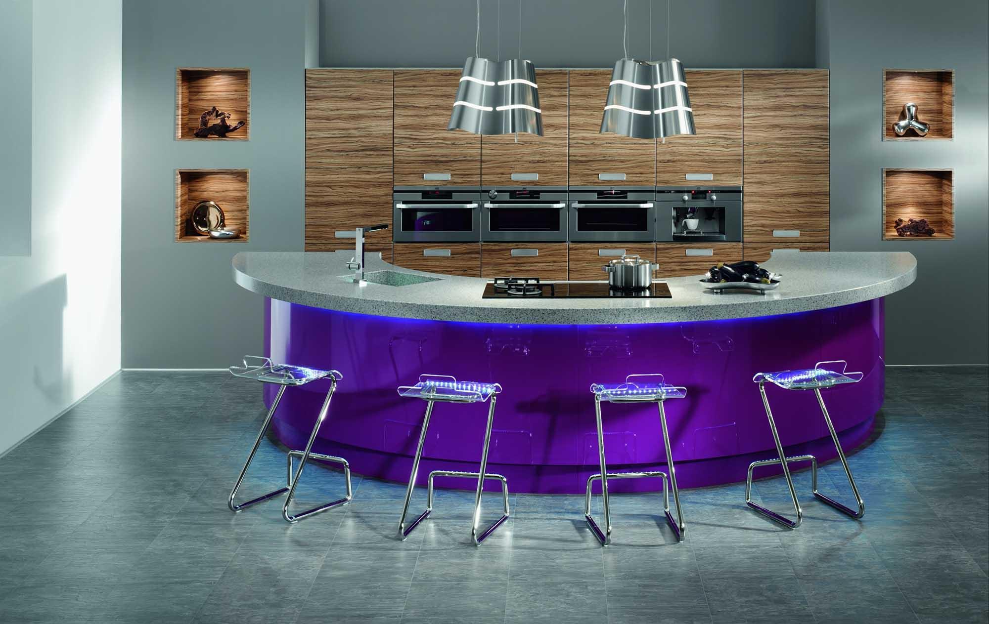 Полукруглая современная барная стойка для кухни