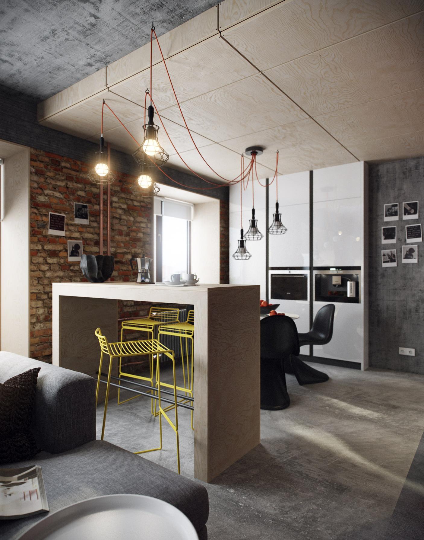 Деревянная барная стойка в квартире-студии