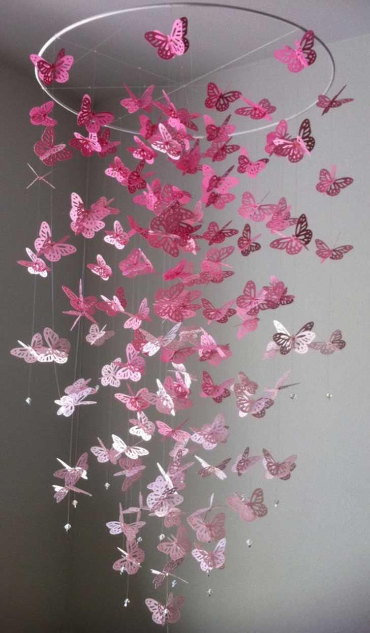 Гирлянда из бабочек в декоре интерьера
