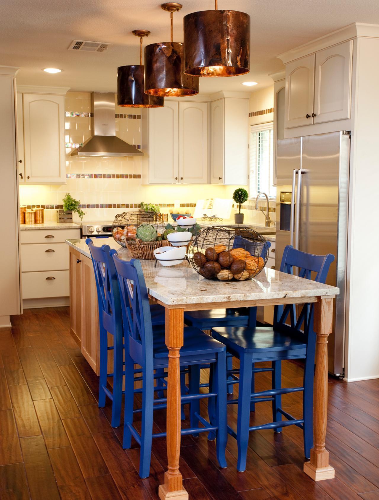 Дизайн кухни с барной стойкой ретро
