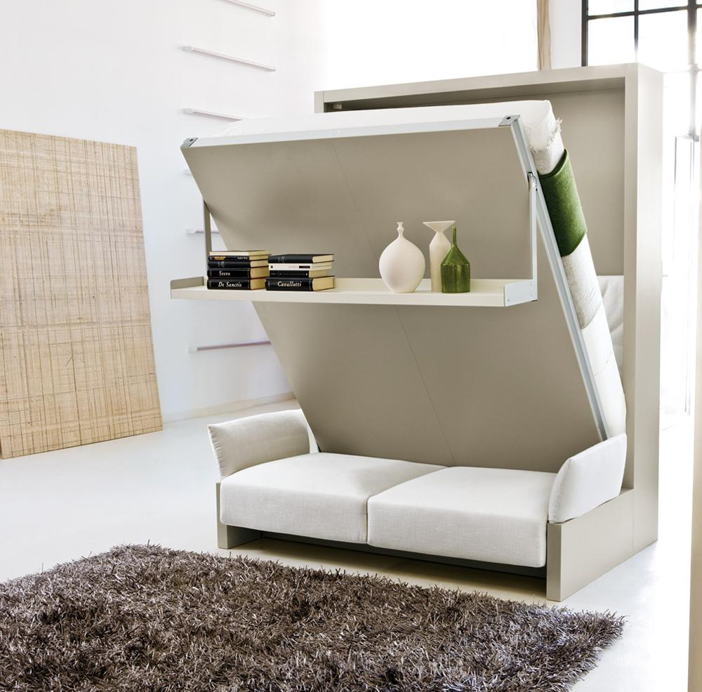 Шкаф-диван-кровать в светлом интерьере