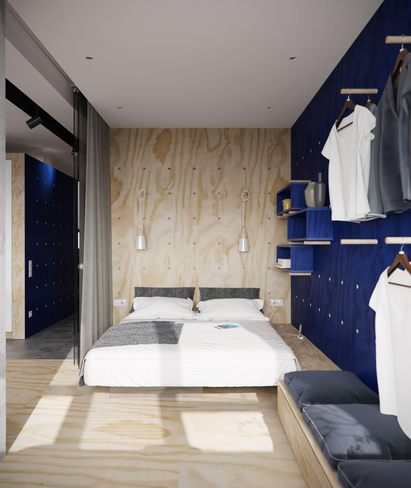 Небольшая спальня а раздвижными дверями