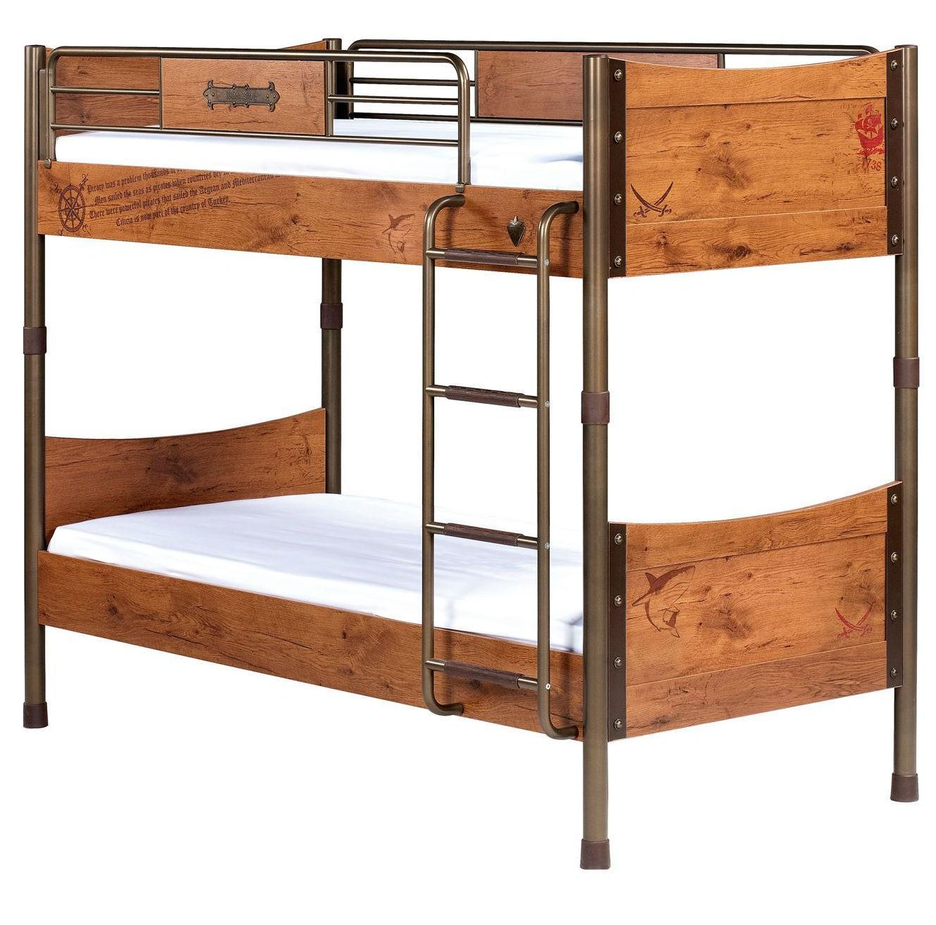 Двухъярусная кровать для детской из дерева и металла
