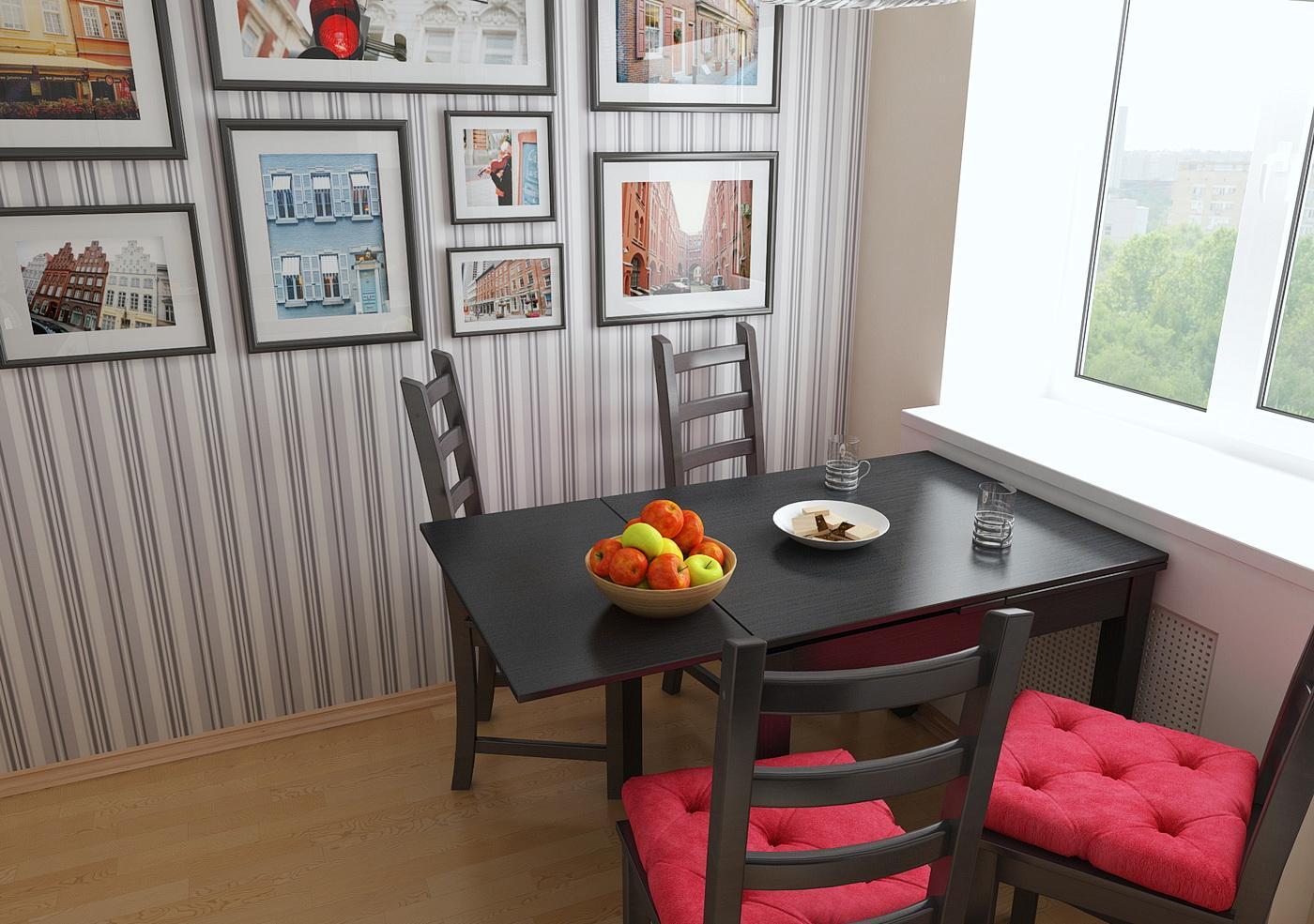 Черно-красные стулья в небольшой кухне