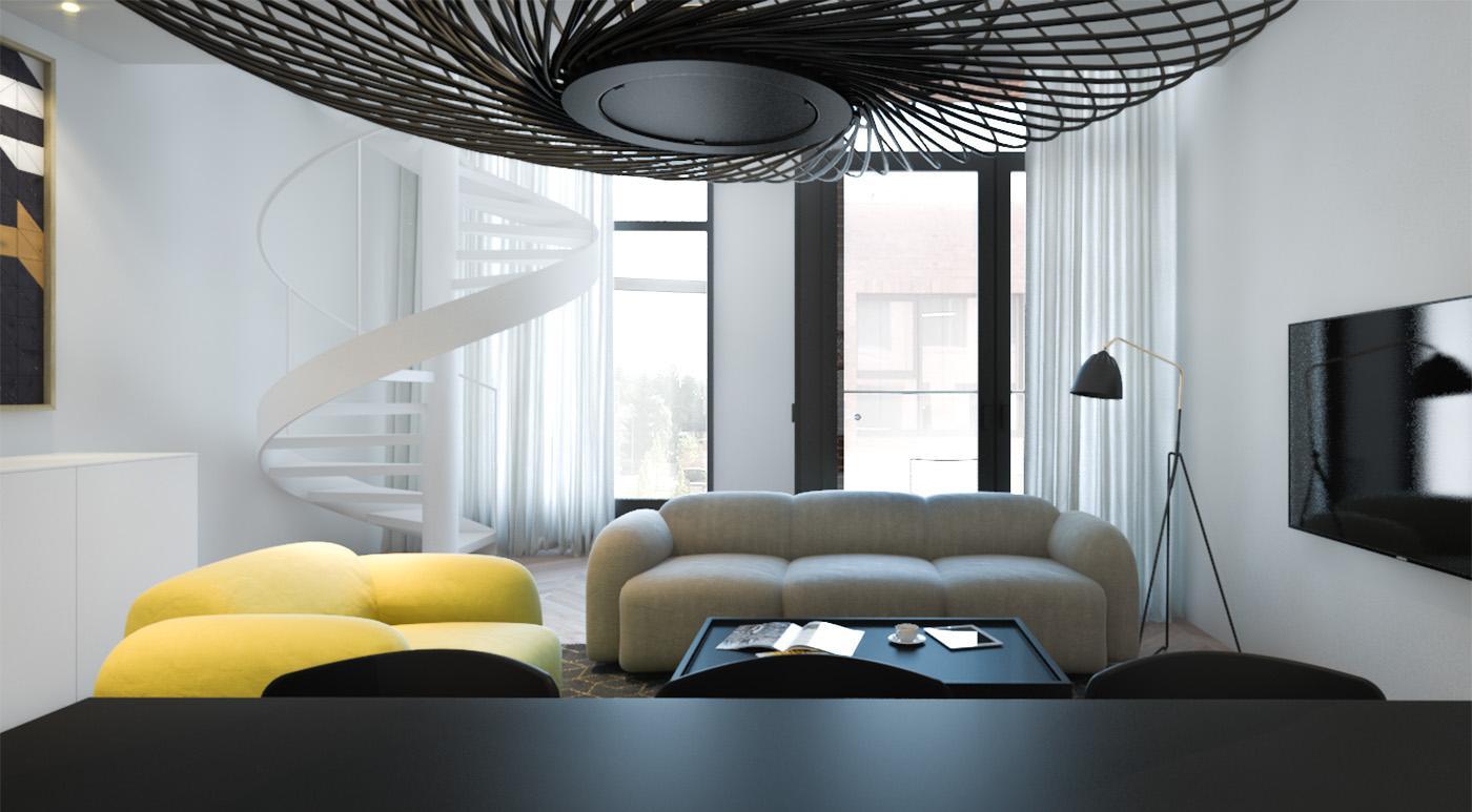 Желтое кресло в черно-белой гостиной