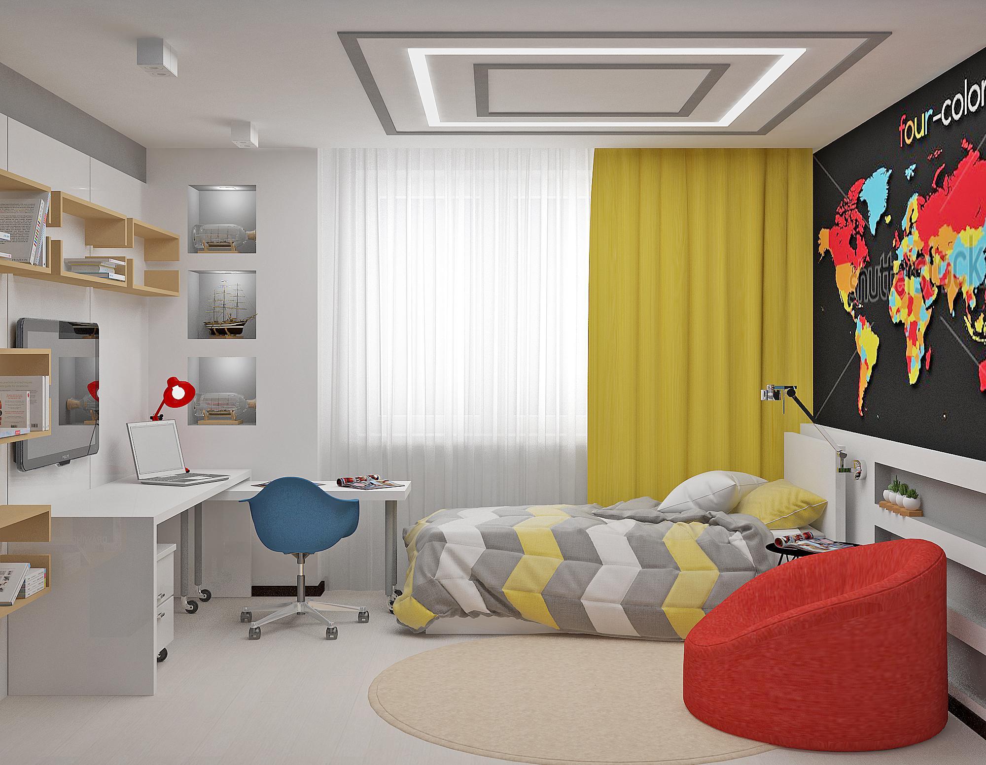 Светлая комната с красным пуфиком для подростка