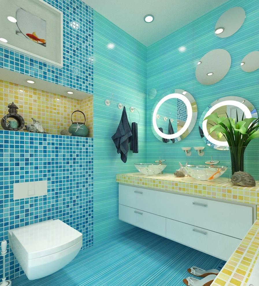 Блекло-зеленый оттенок бирюзового в ванной комнате