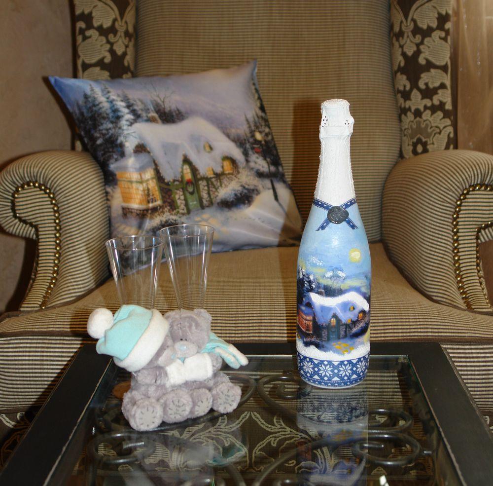 Синий декупаж бутылки шампанского на новый год