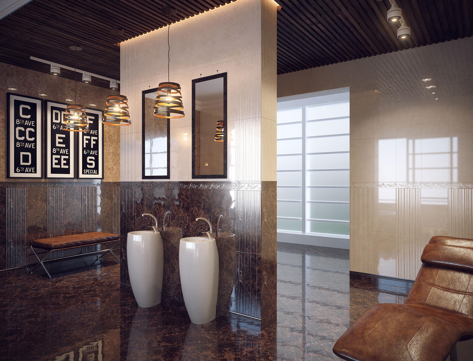 Необычный интерьер в бежево-коричневых тонах в стиле модерн