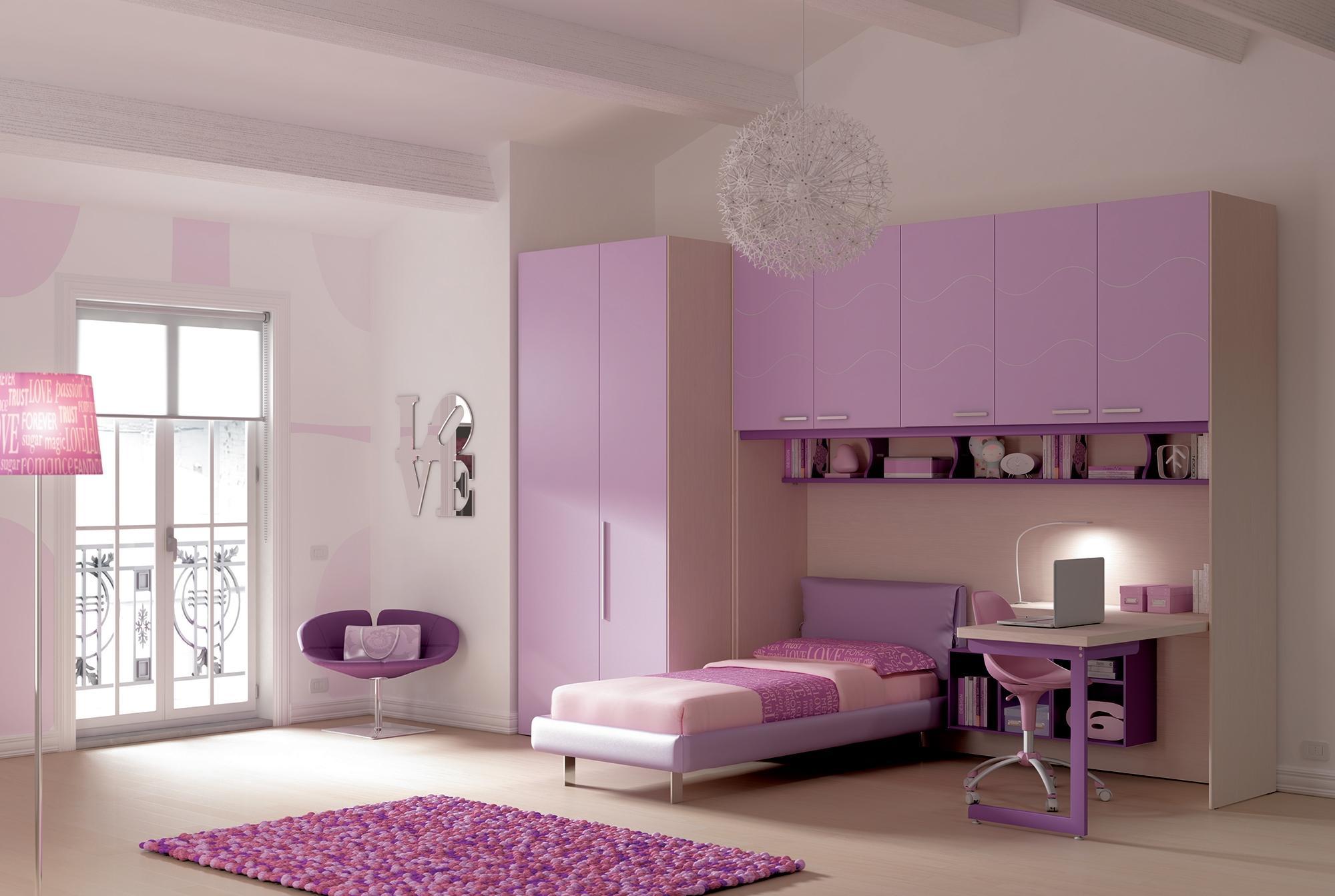 Эконом дизайн детской комнаты фиолетовый