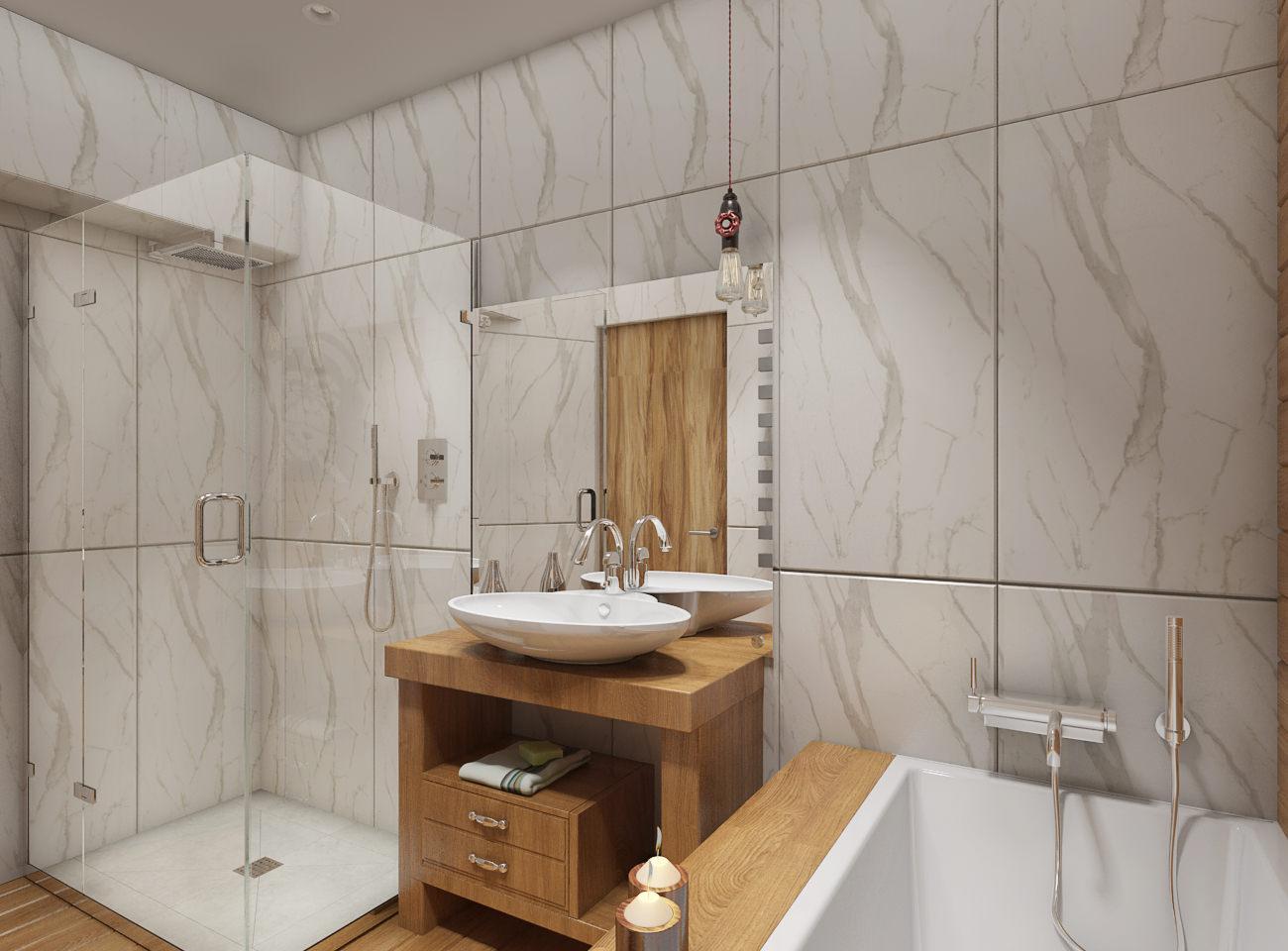 Ванная без унитаза с деревянной мебелью