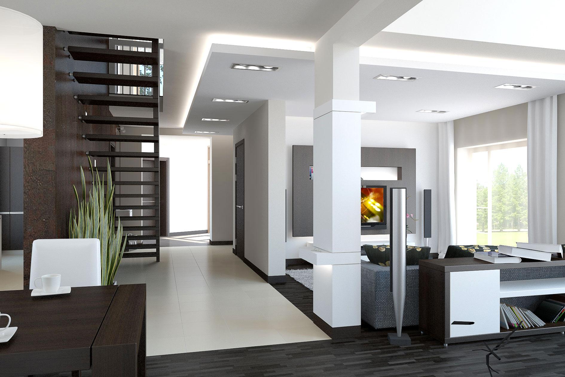 Современный коричнево-белый дизайн двухуровневой квартиры