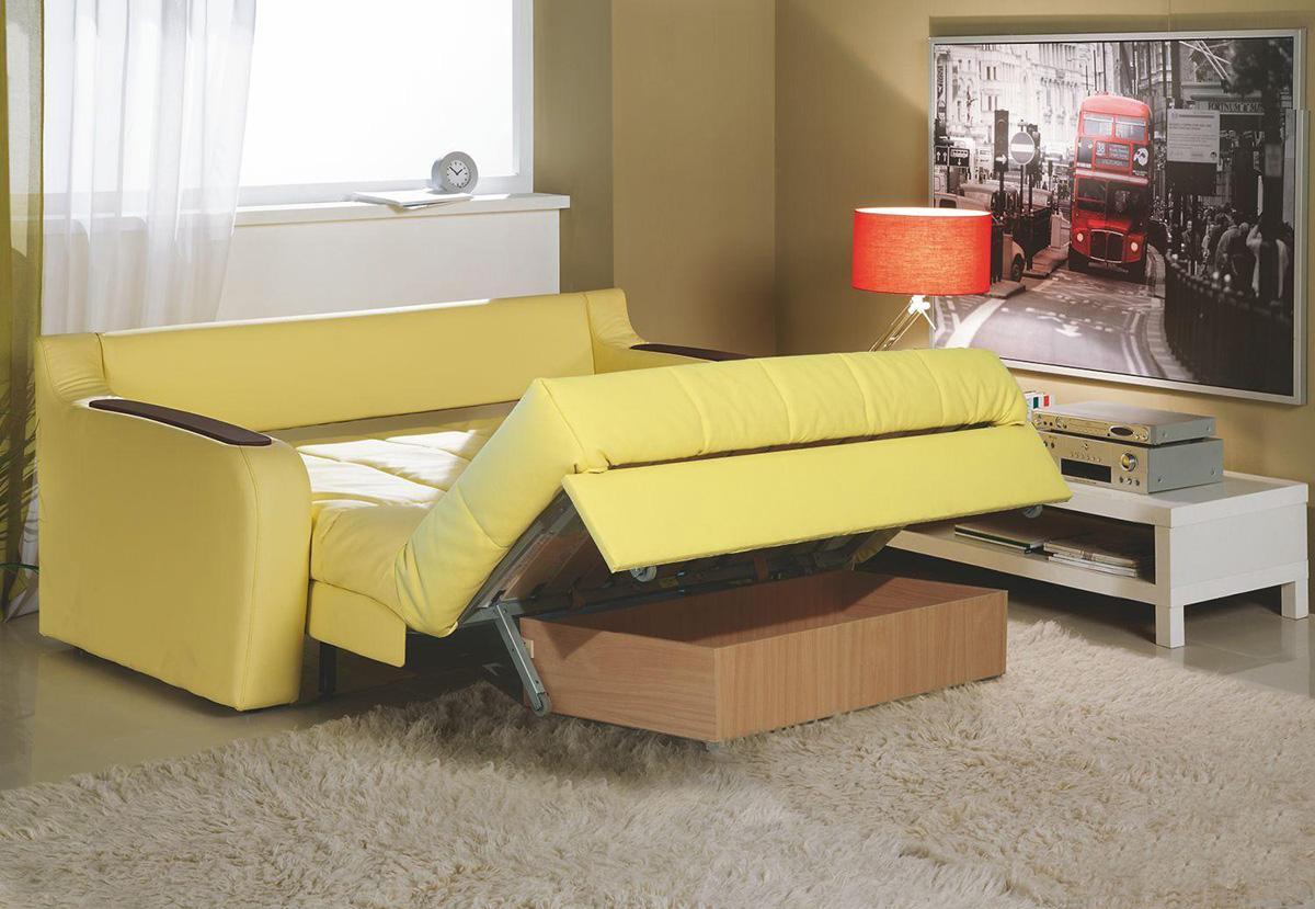 Выкатной желтый диван с ящиком