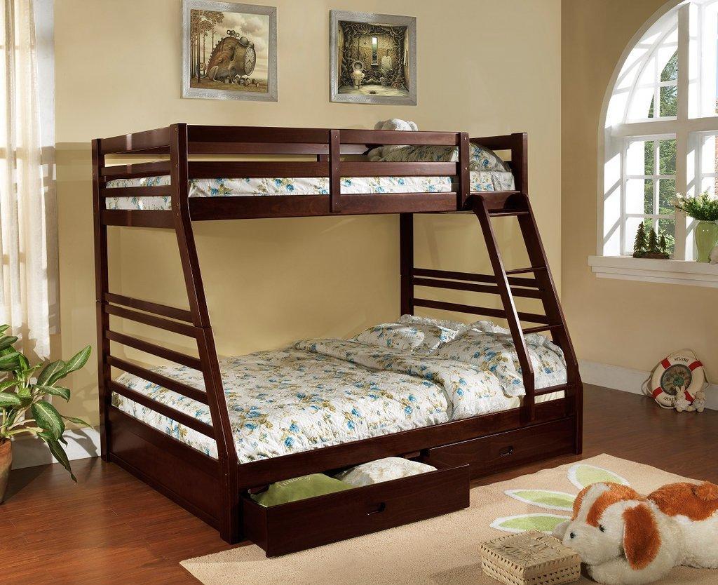 Двухъярусная детская кровать темная