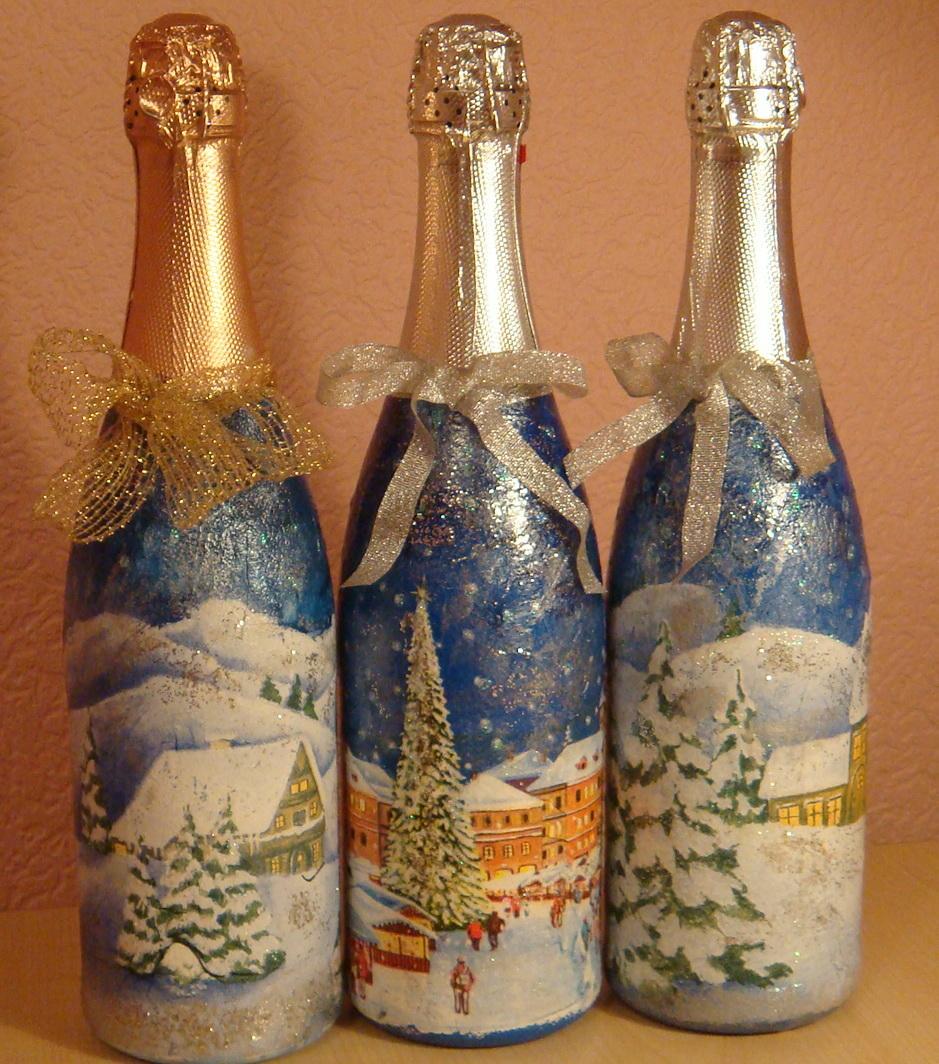 Декупаж бутылки шампанского салфетками на новый год