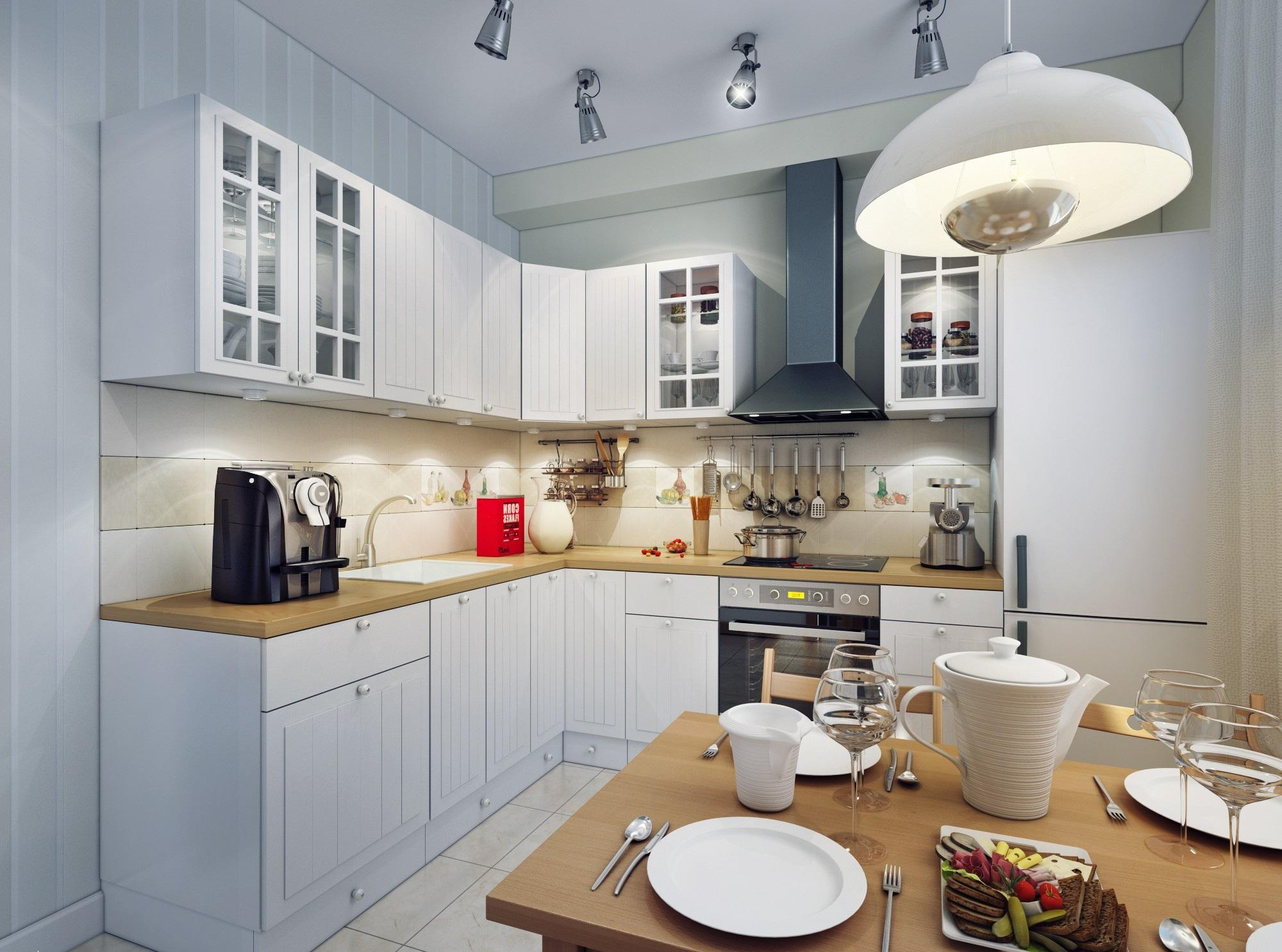 Холодильник в светлой кухне с обеденным столом