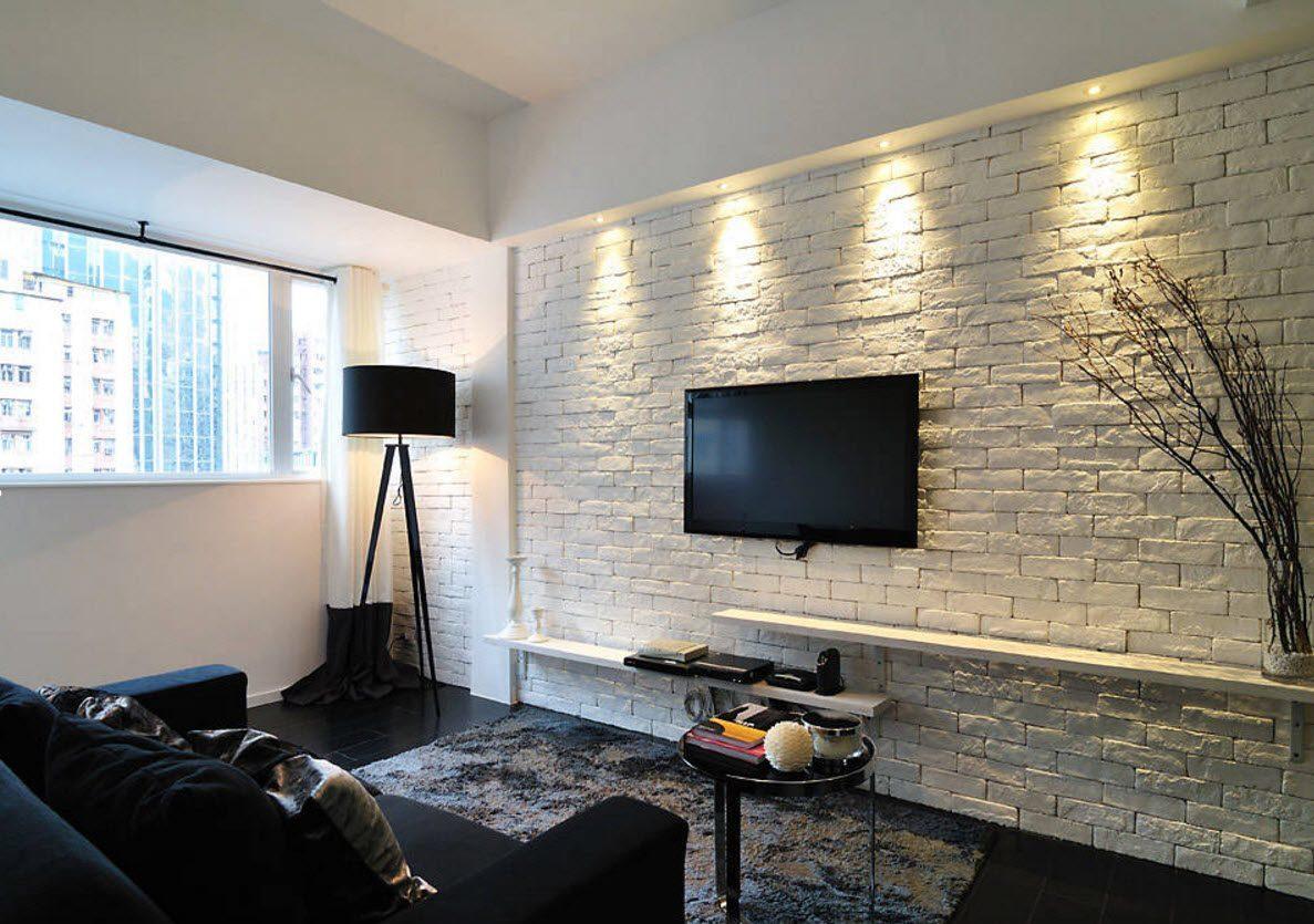 Черно-белая гостиная в стиле лофт