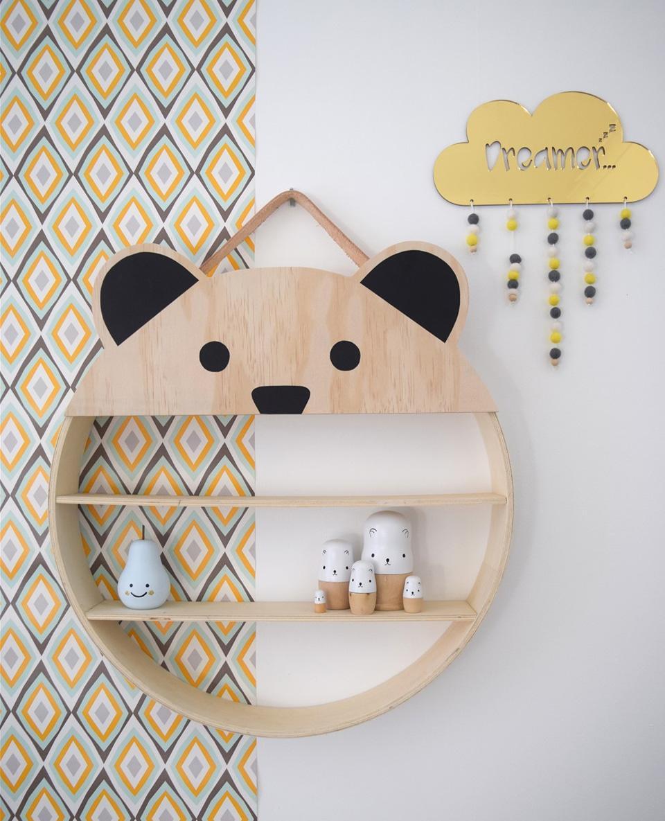 Эконом дизайн детской комнаты с полками