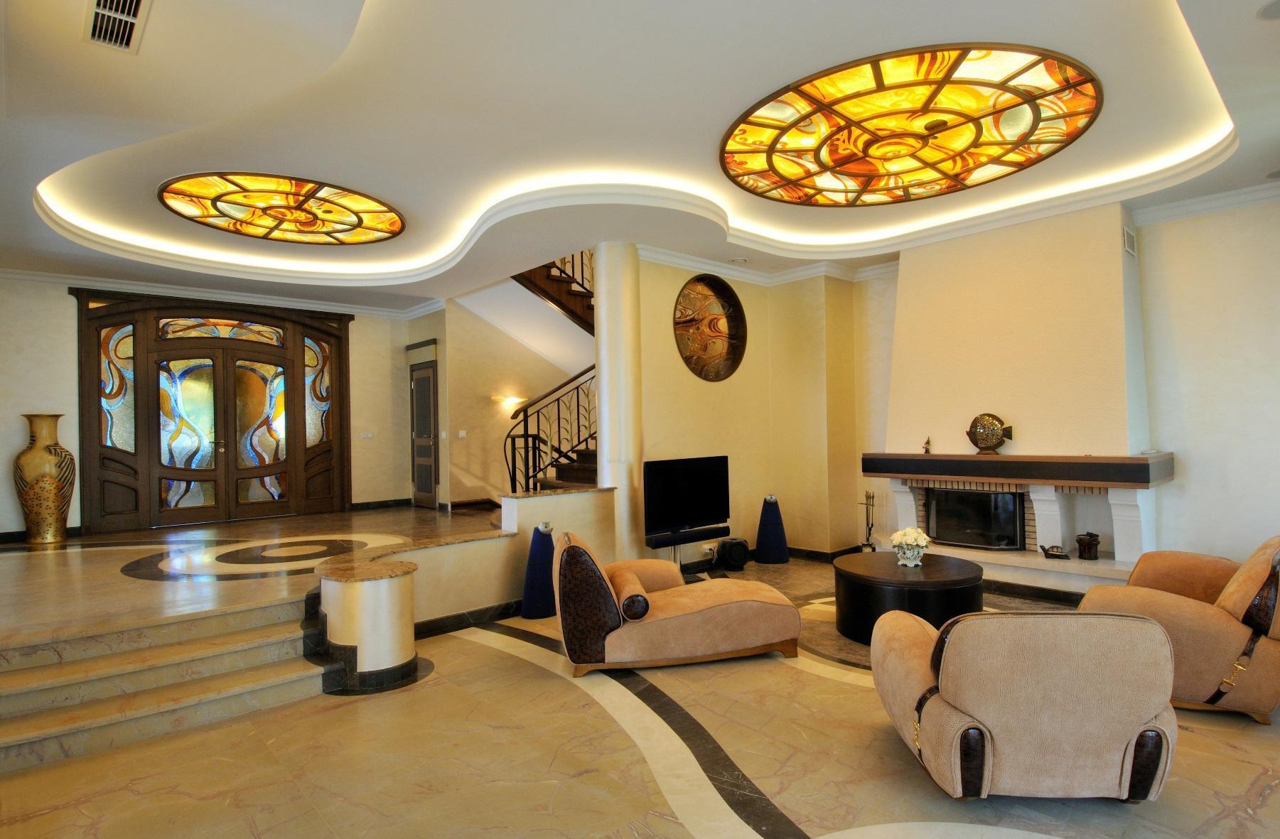 Гостиная в стиле модерн в бежево-коричневых тонах