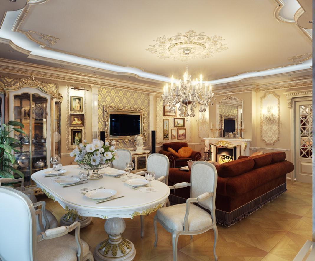 Роскошная классическая гостиная-столовая