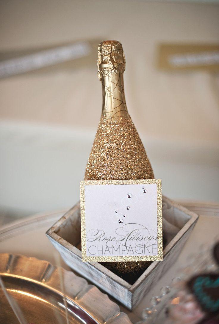 Декупаж бутылки шампанского блестками