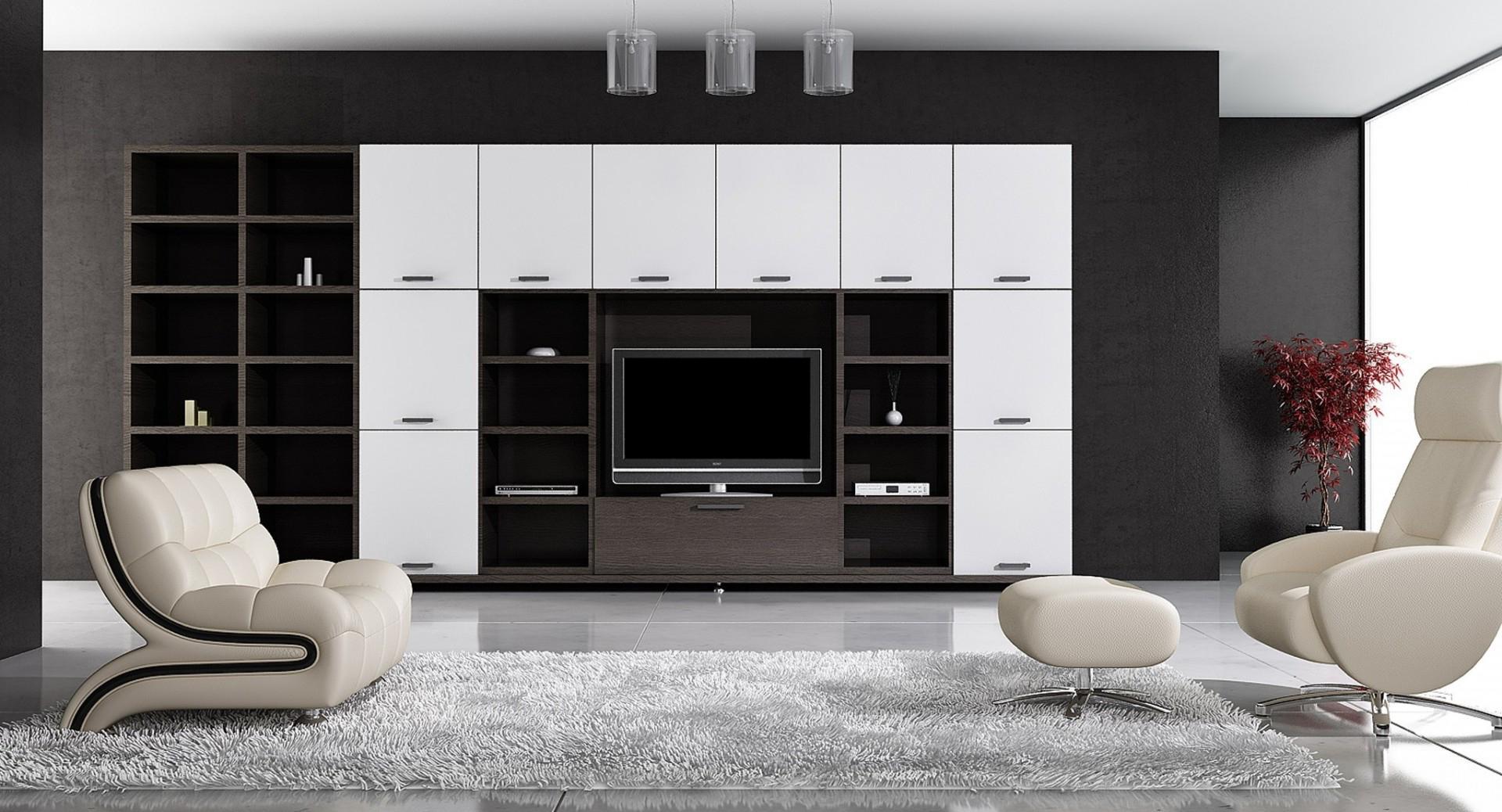 Бежевая мебель в черно-белой гостиной