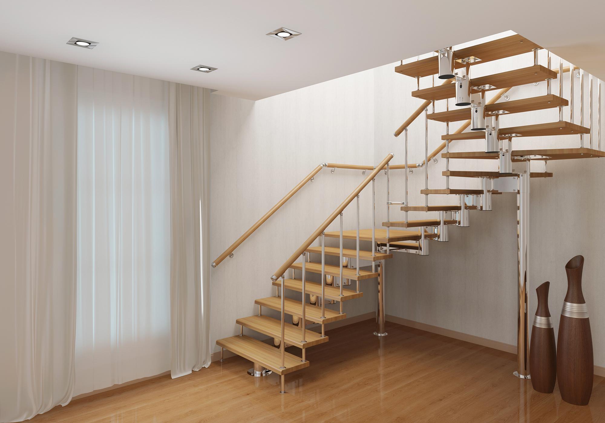 Стильная поворотная лестница в доме